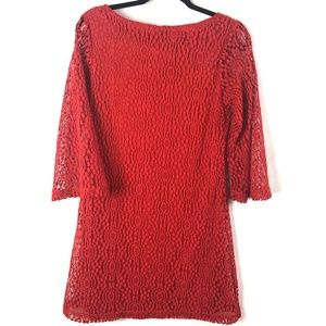 Sharagano Red Lace Bell Sleeve Dress Size 4